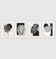 botanical minimal wall art design composition vector image vector image