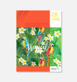 brochure template tropical parrots graphic vector image vector image