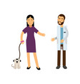 brunette woman visiting veterinary clinic with her vector image vector image