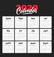 calendar template for 2020 year handwritten vector image vector image