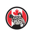 canadian fireman canada flag icon vector image vector image