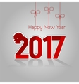 Card new year red rooster 2017