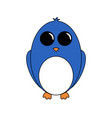 cartoon polar cute blue penguin on white vector image