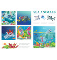 cartoon sea life composition vector image vector image