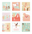 collection of 8 march womens day greeting cards vector image