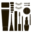 Collection of flat cosmetics vector image