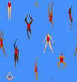 colorful seamless pattern with girl swimmers vector image