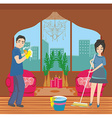 couple cleaning home vector image vector image