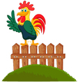 Cute rooster crowing on the fence vector image vector image