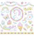 cute unicorn set vector image vector image