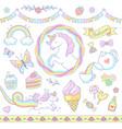 cute unicorn set vector image