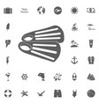 diving flippers icon on a white background vector image vector image