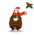 Funny penguin Christmas hat vector image vector image