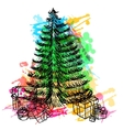 Hand drawn sketch Christmas tree and gifts vector image vector image