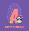happy birthday 4 years banner template birthday vector image