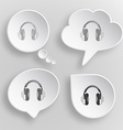 Headphones White flat buttons on gray background vector image