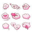 heart shaped cloud set vector image vector image