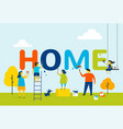 home - family is painting letters together vector image