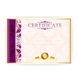 Horizontal certificate with a laurel wreath vector image vector image