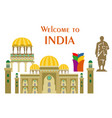 in flat design style with some sights of india vector image vector image
