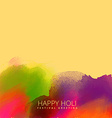 ink stain background with happy holi text vector image vector image