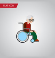 isolated handicapped man flat icon wheelchair vector image vector image