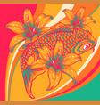 koi fish with flower colored background vector image
