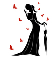 Lady in long gown and hat with umbrella vector image
