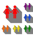 lesbian family sign set of red orange yellow vector image vector image