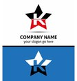 Letter K logo with star icon vector image vector image