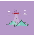 Mountain and UFO outline art vector image
