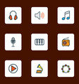 music icons colored line set with timbrel piano vector image vector image