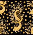 ornate seamless golden floral pattern vector image vector image