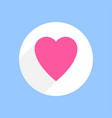 pink heart with shadow in white circle on blue vector image vector image