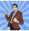Pop Art Excited Businessman Celebrating Success vector image vector image