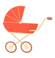 Red baby stroller icon cartoon style vector image vector image