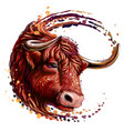 red bull artistic color realistic portrait vector image