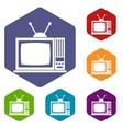 Retro TV icons set vector image vector image