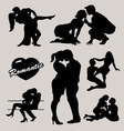 Romantic love couple silhouette 2 vector image