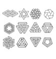 sacred geometry symbols collection vector image vector image