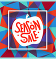 season sale white frame on colorful background vector image vector image