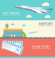 set banners with plane airport tickets vector image