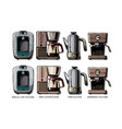 set coffee machines vector image vector image