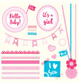 set elements hello baby girl vector image vector image