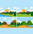 set flat nature scene vector image vector image