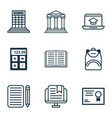 set of 9 education icons includes distance vector image vector image