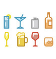 set of simple alcoholic drinks items vector image