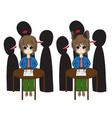 short hair girl with cat ears crying was bullied vector image vector image