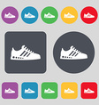 Sneakers icon sign A set of 12 colored buttons vector image vector image