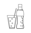 soda bottle and cup with straw black and white vector image vector image